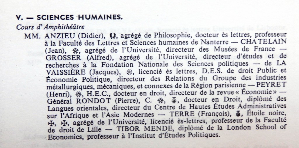 SCIENCES HUMAINES 1964 1965